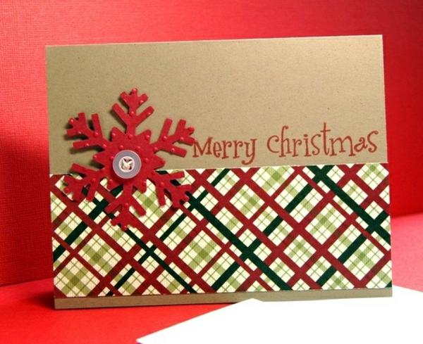 weihnachtsbastelideen weihnachtskarten selber basteln schneeflöckchen knopf karomuster