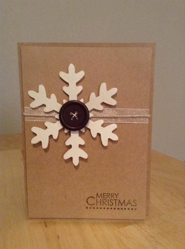 weihnachtsbastelideen weihnachtskarten selber basteln schneeflöckchen knopf