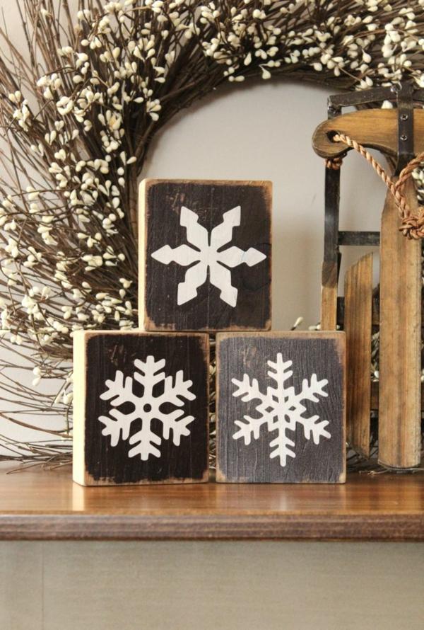 weihnachtsbastelleien holz weihnachtsbastelideen schneeflöckchen