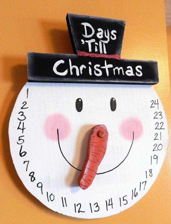 weihnachtsbastelleien holz weihnachtsbasteln schneemann adventskalender