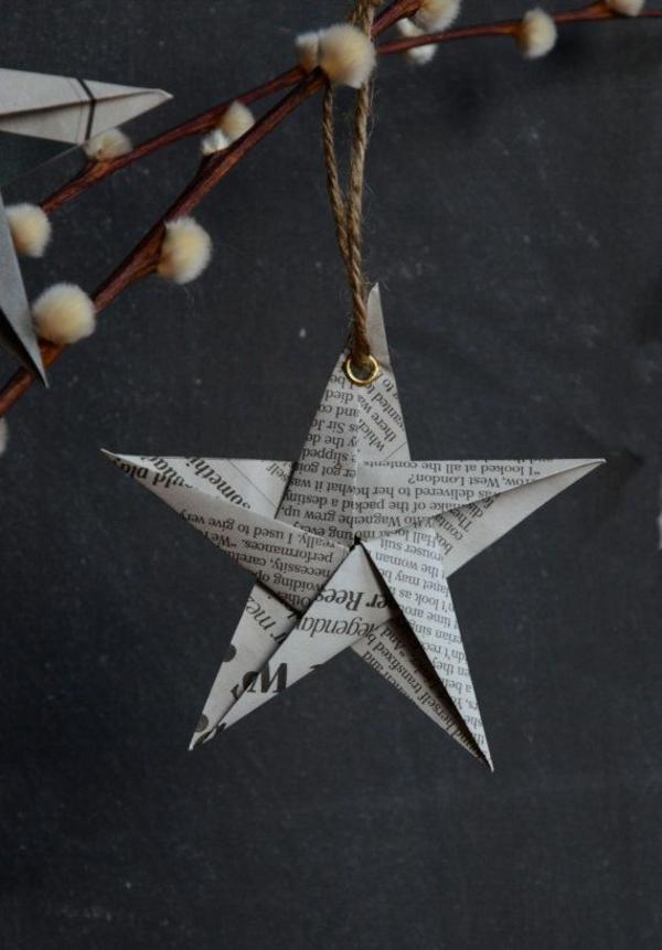 weihnachtsbastelleien weihnachtsdeko basteln papier falten
