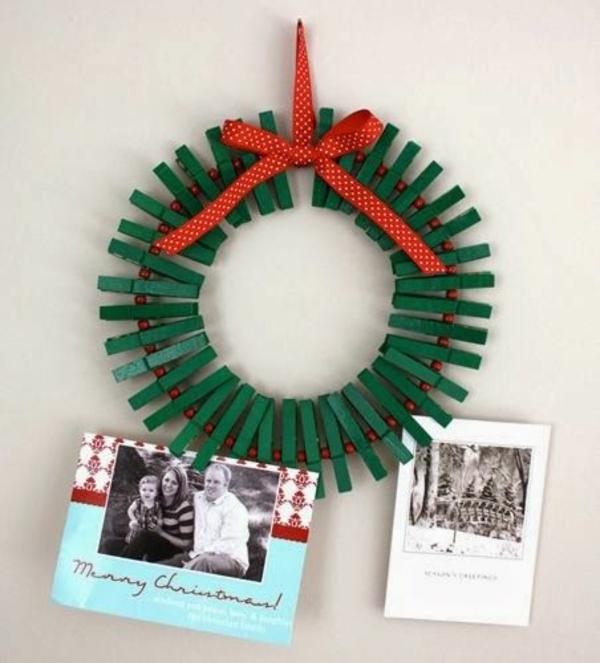weihnachtsbastelleien weihnachtsdeko basteln wäscheklammer adventskranz