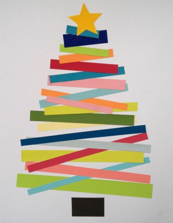 weihnachtsbastelleien weihnachtskarten basteln tanne farbiges papier streifen