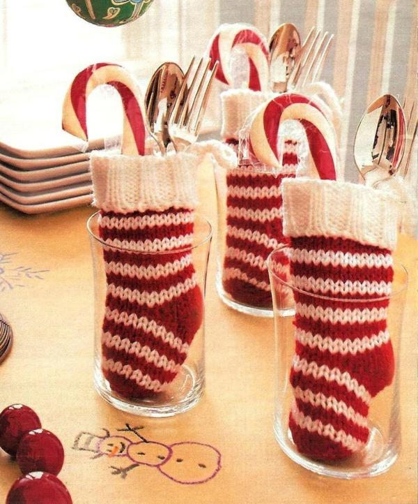 weihnachtsbasteln mit kindern zuckerstangen tischdeko ideen