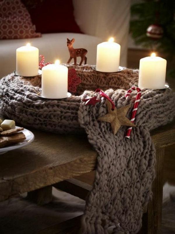 weihnachtsdeko basteln kranz gestrickt deko mit kerzen