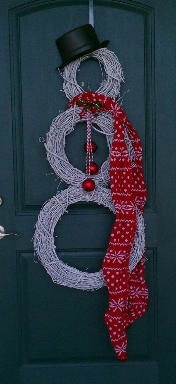 weihnachtsdeko basteln kranz tür dekorieren schneemann
