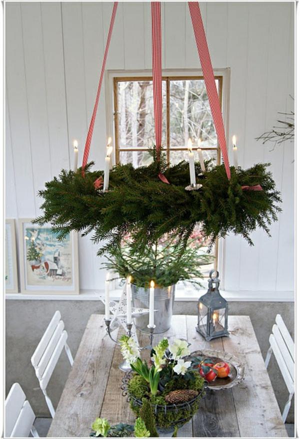 weihnachtsdeko basteln türkranz weihnachten tischdeko ideen