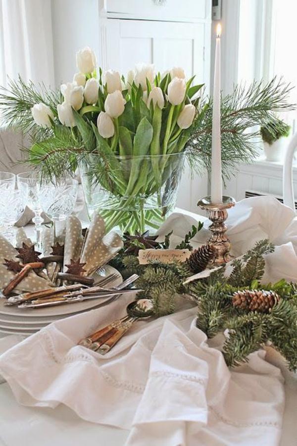 weihnachtsdeko basteln tischdeko ideen mit tulpen weiß