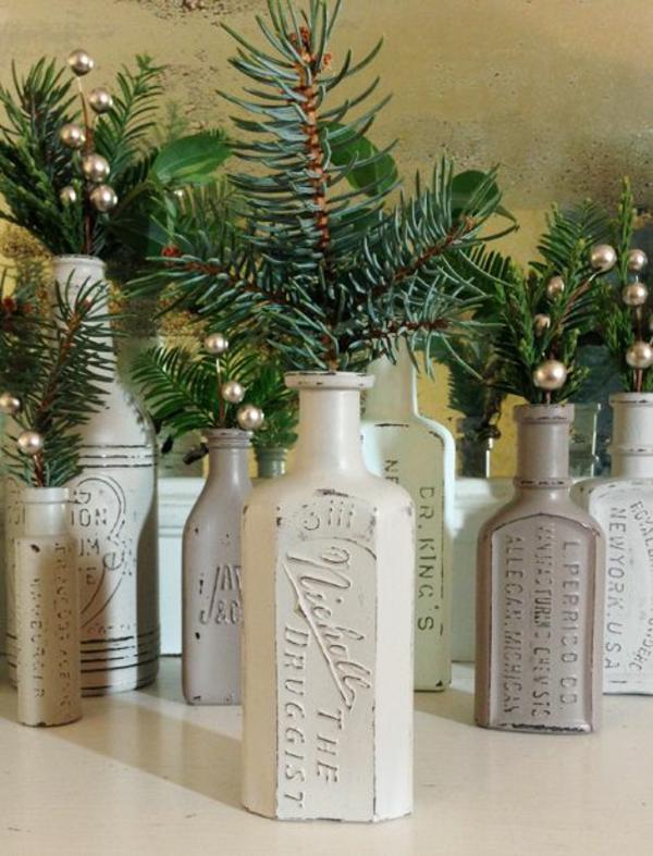 weihnachtsdeko flaschen weihnachtsbasteln weihnachtsbasteleien