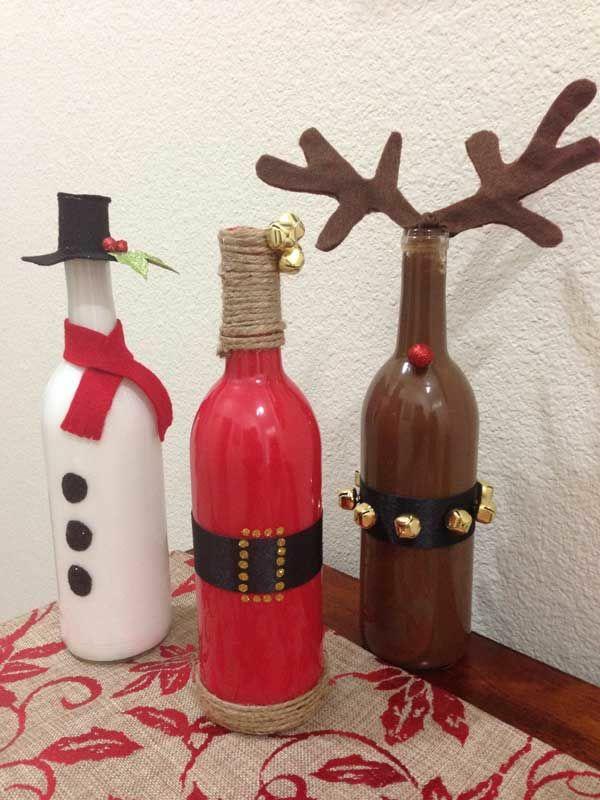 weihnachtsdeko mit flaschen weihnachtsbasteln weihnachtsdeko ideen