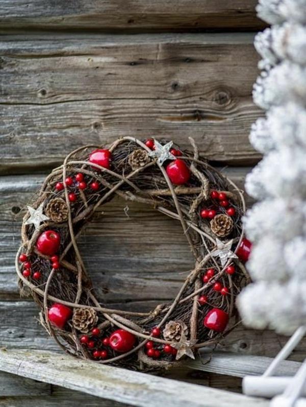 weihnachtsdeko selber basteln adventskranz holz äpfel