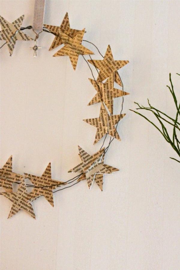 weihnachtsdeko selber basteln türkranz weihnachten sternchen