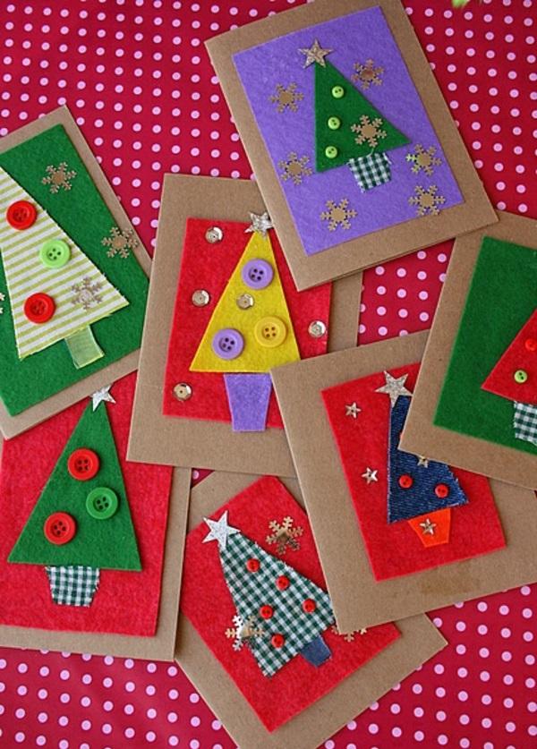 weihnachtskarten basteln vorlagen bunt tannenbaum