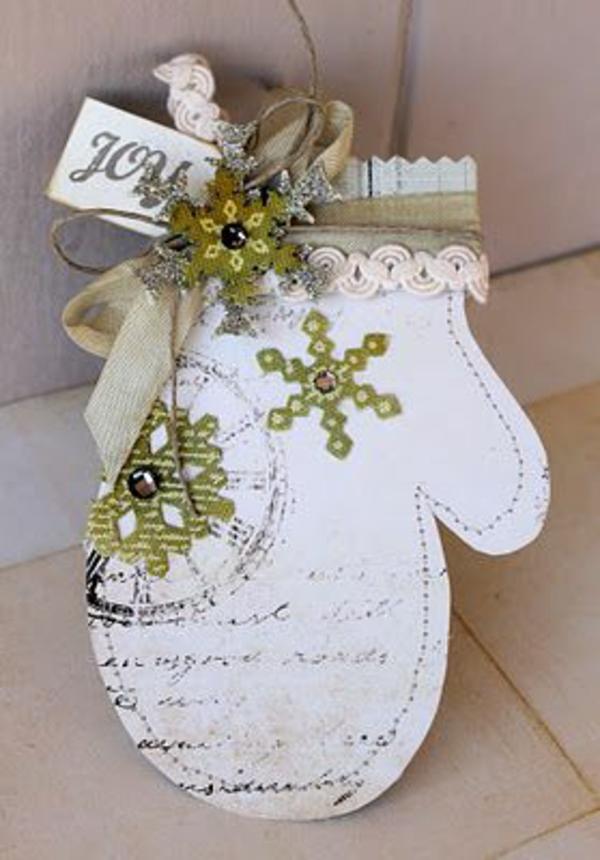 weihnachtskarten basteln vorlagen handschuhe