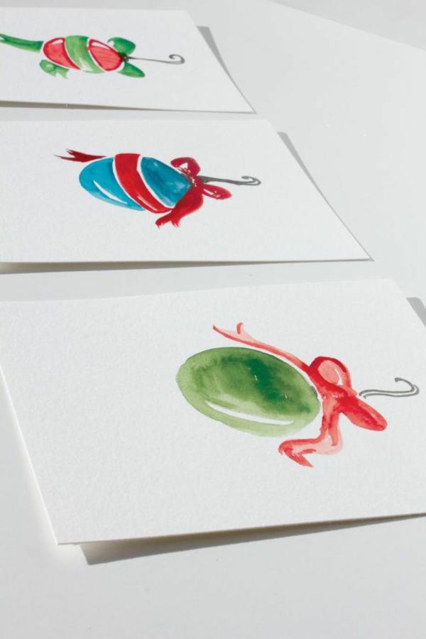 weihnachtskarten basteln vorlagen kugel wasser farben