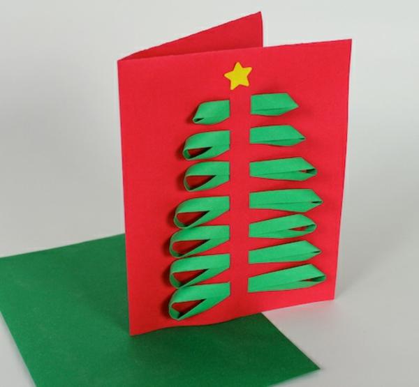 weihnachtskarten basteln vorlagen schleifen grün