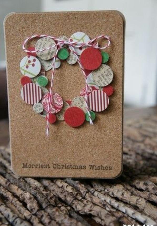 weihnachtskarten basteln vorlagen türkranz kugel