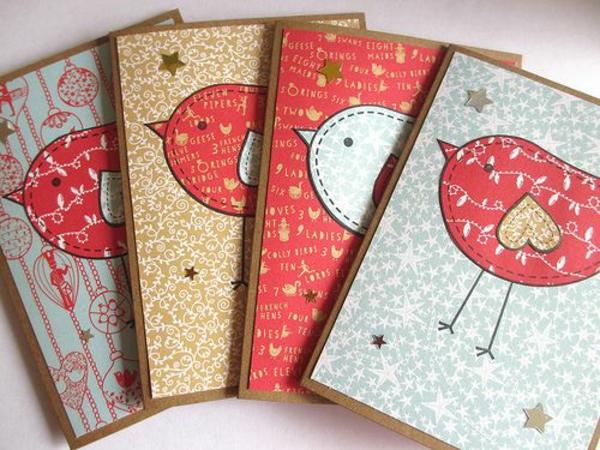 weihnachtskarten basteln vorlagen vögel niedlich