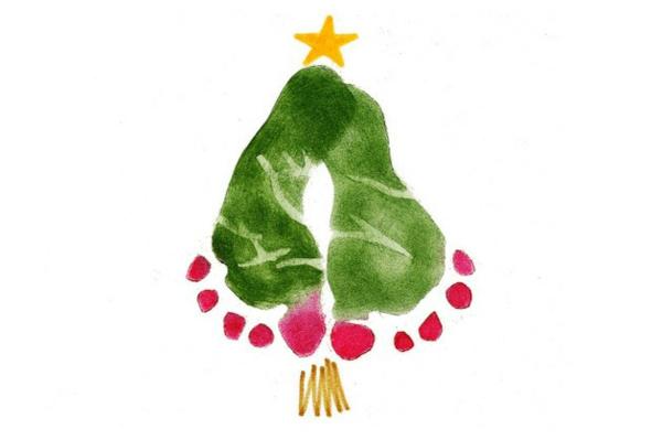 weihnachtskarten basteln weihnachtsbastelideen farbideen füße