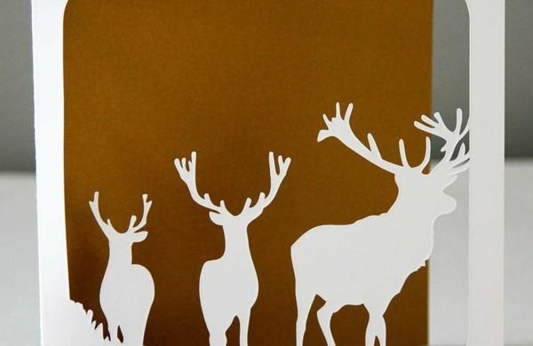 weihnachtskarten-basteln-weihnachtsbastelideen-hirsche