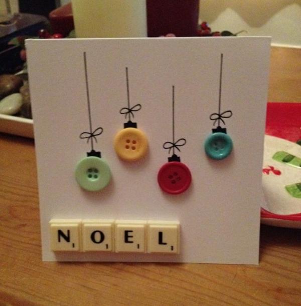 weihnachtskarten selber basteln weihnachtsbastelideen knöpfe scrubble buchstaben