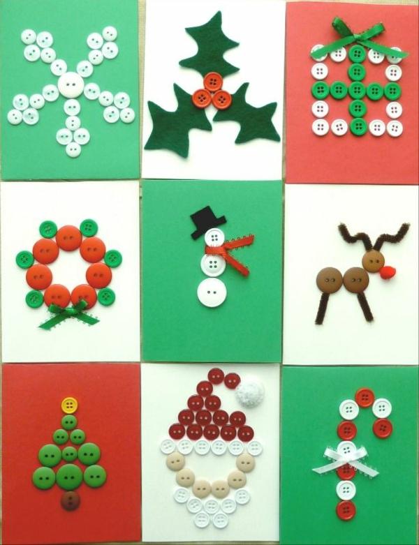 weihnachtskarten selber basteln weihnachtsbastelideen mit knöpfen