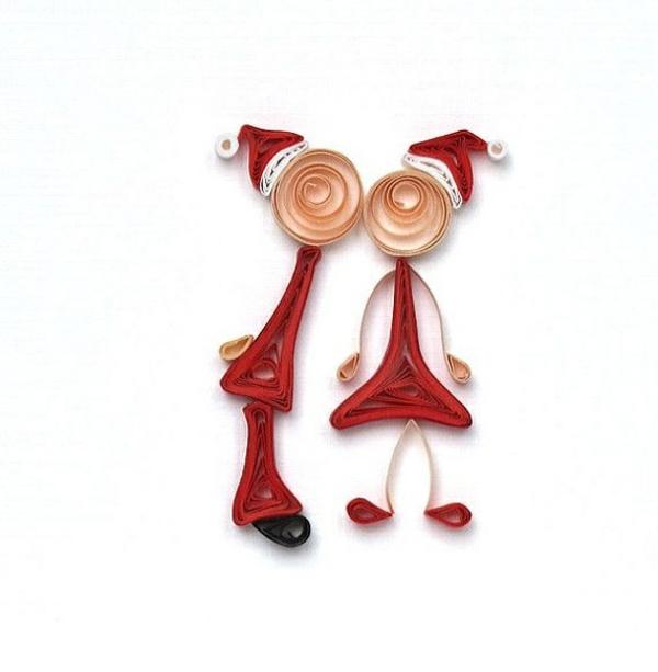 weihnachtskarten selber basteln weihnachtsbastelideen quilling papier männchen