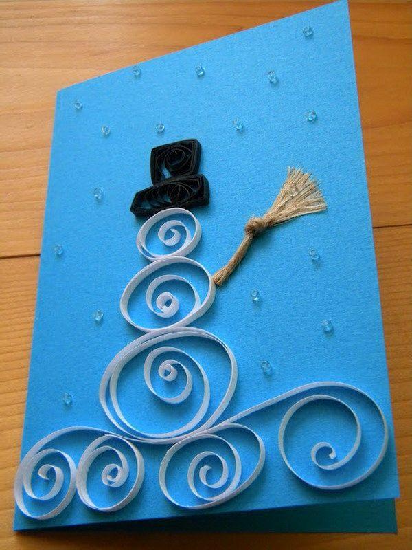 weihnachtskarten selber basteln weihnachtsbastelideen quilling papier schneemann