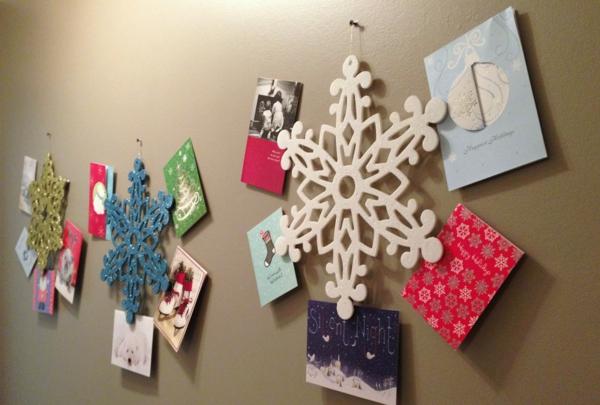 weihnachtskarten basteln weihnachtsbastelideen wanddekoration ideen
