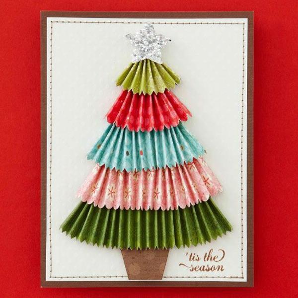 weihnachtskarten ideen basteln schön bunt