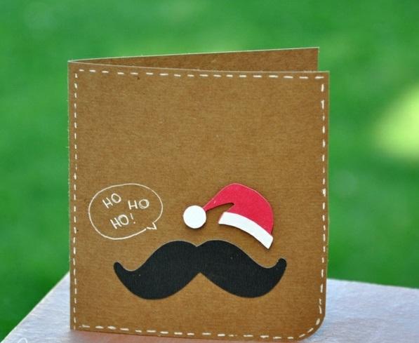 weihnachtskarten ideen basteln schön schnurbart