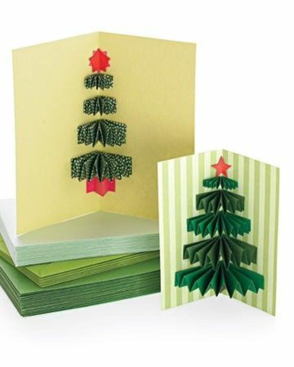 weihnachtskarten ideen basteln schön tannenbaum grün