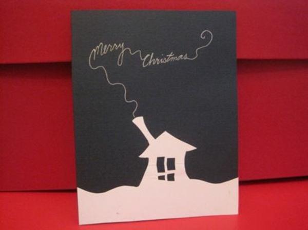 weihnachtskarten ideen basteln schön weiß häuschen