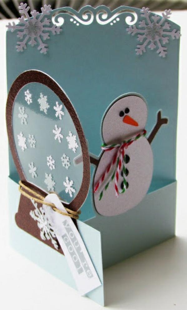 weihnachtskarten schnee basteln diy kinder schneemann