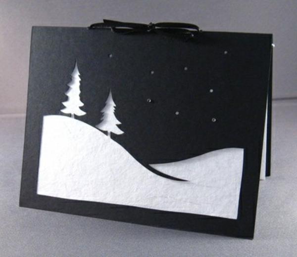 weihnachtskarten schnee basteln diy kinder winter schnee