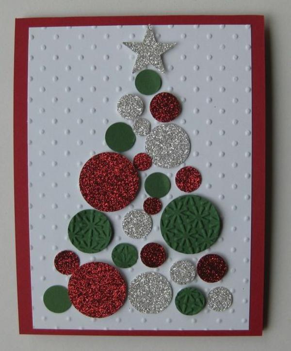 weihnachtskarten selber basteln ideen tannenbaum festlich