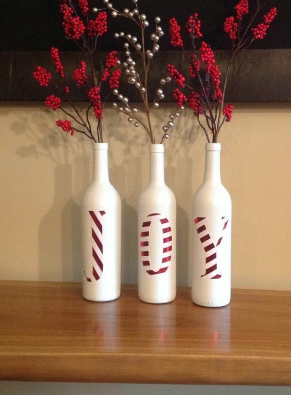 weihnachtsmann flaschen weihnachtsbasteln weihnachtsdeko ideen