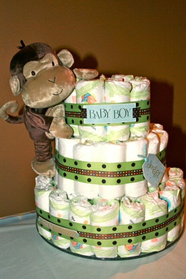 windeltorte basteln anleitung babygeschenke geburt affe
