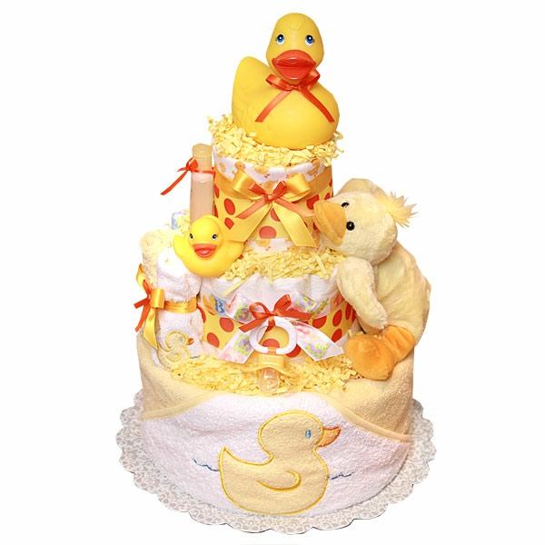 windeltorte basteln anleitung babygeschenke geburt gelb duck