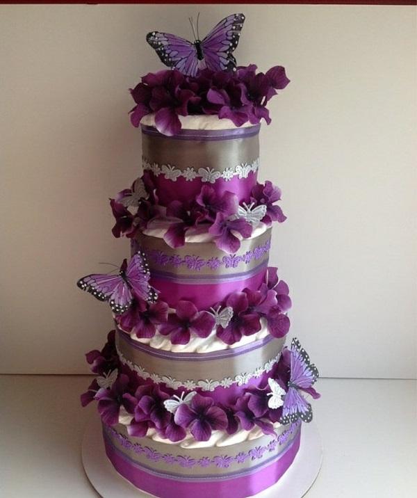 windeltorten basteln anleitung babygeschenke geburt violett