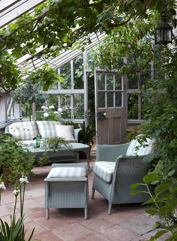 wintergarten selber machen grau rattanmöbel