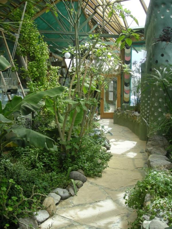 wintergarten selber machen natursteinplatten