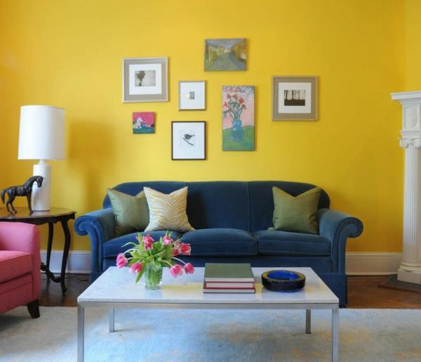 wohnideen fr wohnzimmer sonnig farben wandgestaltung gelb design - Wohnzimmer Farben Design