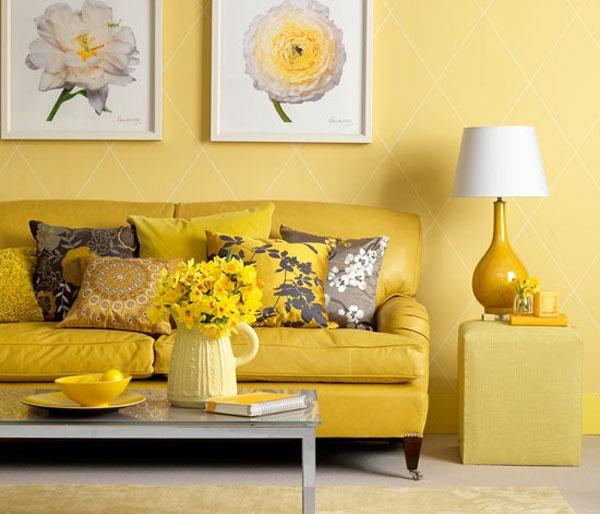 Farben Wandgestaltung Gelb Sofa Lampenfuss
