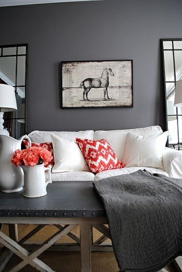 Wohnzimmer Sofa Farben Wandgestaltung Grau Kissen Rot
