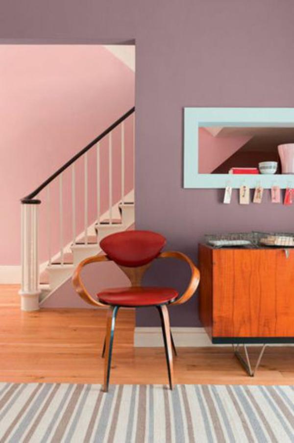wohnideen fr wohnzimmer treppe farben wandgestaltung kombiniert - Wohnzimmerfarben
