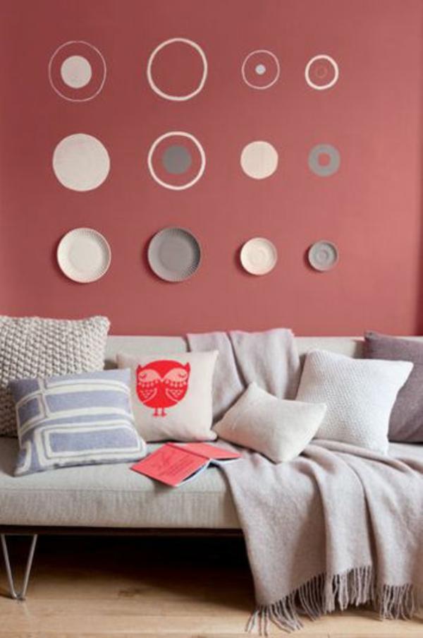 wohnzimmer wohnideen farben wandgestaltung kreise - Wohnzimmer Farben Design