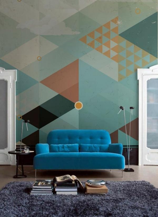 Wohnzimmer Farbgestaltung Muster Geometrisch