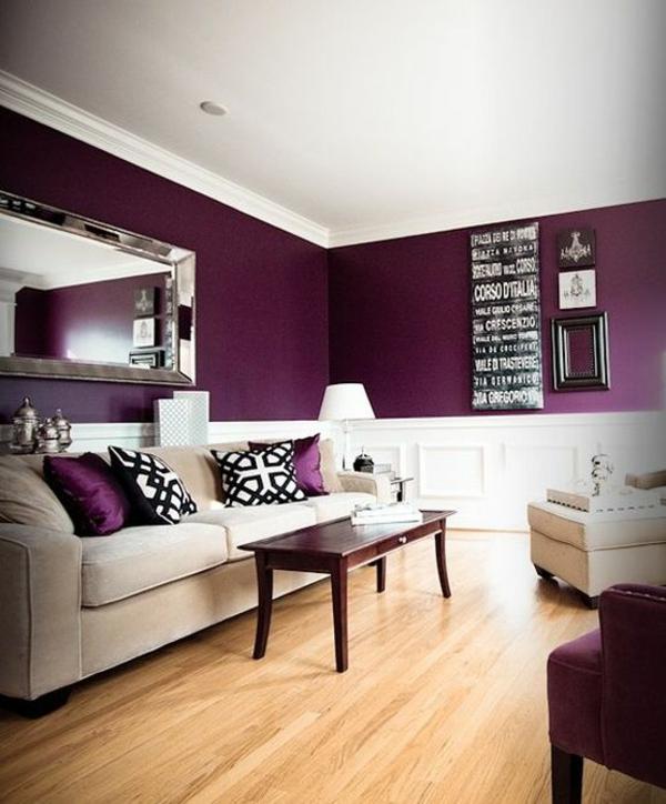 wohnideen wohnzimmer tolle farben wandgestaltung purpurrot