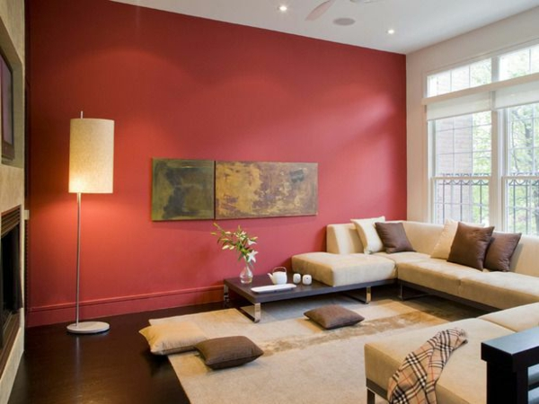 wohnzimmer orange rot:Red Wall Living Room